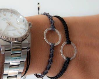 SALE 14k solid white gold karma bracelet. Circle bracelet. Karma jewelry