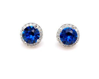 bridal wedding earrings bridesmaid gift christmas prom party round cubic zirconia post rhodium earrings swarovski cobalt blue rhinestone