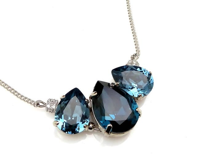 Swarovski denim blue montana navy vintage style teardrop rhodium silver setting crystal rhinestone chain necklace bridesmaid party gift