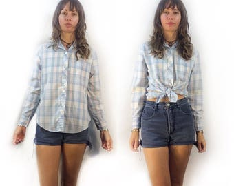 Vintage pastel plaid button up shirt blouse // size 34 small medium // 70s 80s checked retro prep oxford