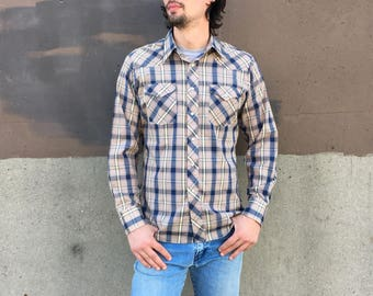 Mens vintage LEE plaid western pearl snap shirt // size large