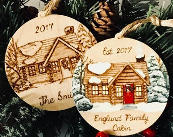 Wood Burned Personalized Log Cabin Ornament