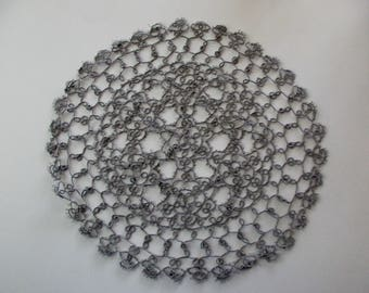 """vintage gray cotton round 12"""" lace doily- tatted"""