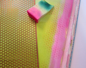 3 sizes POLKA DOT stencil material - scrim - sequin waste - 1 yard each in THREE sizes - punchanella, punchinella