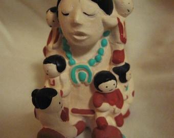 SALE-Pueblo signed vintage storyteller doll figure