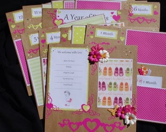 Baby Girl 14~12x12 Premade Scrapbook Layouts Months 1~12