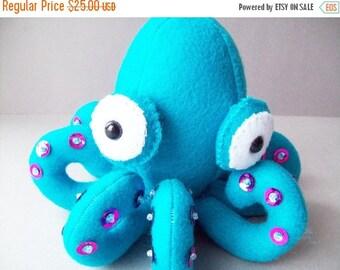 ON SALE Octopus stuffed animal - Teal with purple