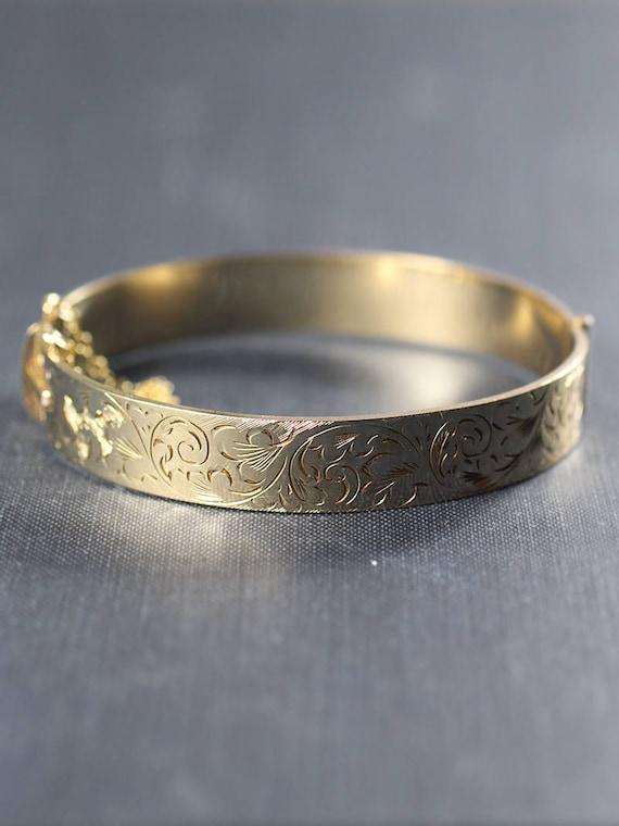 Vintage 9ct Gold Bangle, Swirl Engraved Cuff Bracelet - Vine Swirls