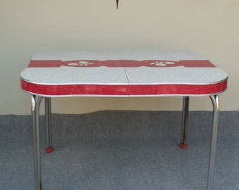 Vintage Red and Gray Formica Table with Apple Motif PICK UP ONLY in Westchester il.
