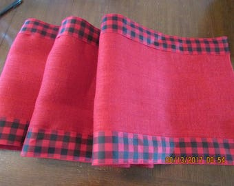 Red and Black/Red checked ribbon Burlap Table Runner