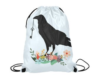 Black Crow Drawstring Bag | Bold Graphic Alternative Art Print | Lightweight | Swim Sport School Shopping | Pale Blue Raven Bird Black Cord
