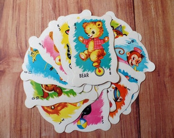 FREE SHIPPING Vintage Animal Rummy Cards