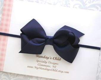 Navy Baby Bow Headband or Hair Clip, Navy Blue Bow Headband, Boutique Bows, Baby Headband, Navy Blue Hair Bow, Toddler Headband, Baby Bows