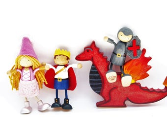 Royal Doll Set - Prince Princess knight Dragon - Magical Wooden Toy Set - Dagon Wizard Set  - Wood  Play Set - Toy - Unique Gift - Zooble