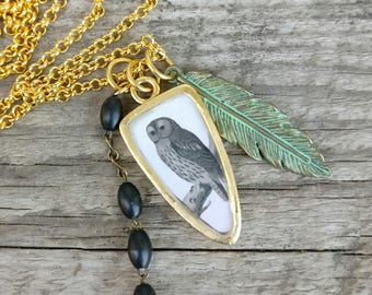 owl necklace | nocturnal bird of prey | vintage dictionary image pendant