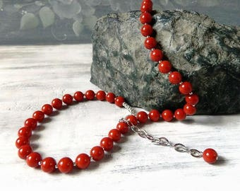 Silver Red Coral Necklace Sterling Silver Bold Statement Coral Jewelry Grade AA Red Necklace Single Strand Gemstone Natural Organic Gift for