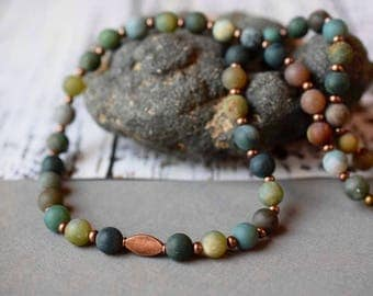 Bohemian Matte Fancy Jasper Necklace Antique Copper Green Boho Necklace Green Necklace Beaded Gemstone Necklace Brown & Green Jasper Jewelry