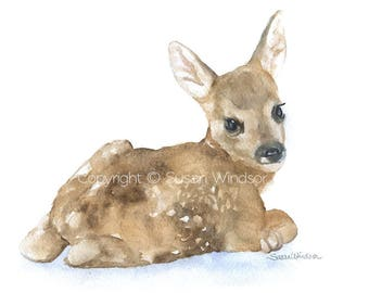 Watercolor Painting Deer Fawn Lying Down - 10 x 8 / 11 x 8.5- Giclee Print - Nursery Art