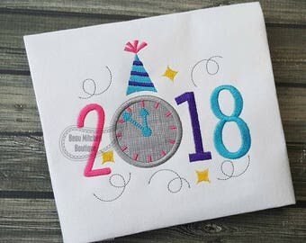 2018 New Year Clock applique