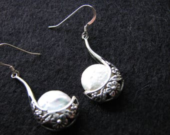 Pearl earrings dangle | sterling silver | crescent moon | floral | wedding | chandelier