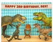 FALL SALE Customizable Personalized Birthday Print: Dinosaur Decor Edition