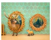 FALL SALE Deer and fox art surreal woodland animal art: Pop Art