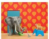 FALL SALE Nursery decor animal art print with elephant: Tickle Trunk