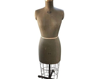 ON SALE Midcentury Dress Form with Design Sophistication in Soft Green Hues