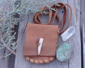 Handmade leather amulet bag, ready to ship, hand stitched medicine bag , one of a kind pouch