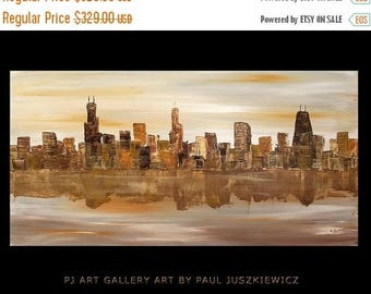 """17% OFF /ONE WEEK Only/ Chicago Scape Knife Huge modern Abstract by Paul Juszkiewicz 48""""x24"""" brown cognac"""