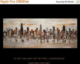 "17% OFF /ONE WEEK Only/ Enormous Chicago City Scape Skyline Knife Abstract by Paul Juszkiewicz 60""x24"" brown cognac gray - Ready To Ship"