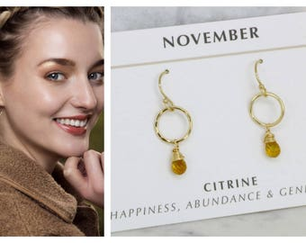November birthstone earrings, citrine earrings for November birthday gift, dainty circle earrings - Clare