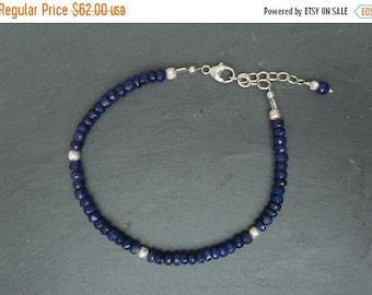 On Sale Sapphire Bracelet, Sapphire Stacking Bracelet, Sapphire Layering Jewelry, Gemstone Stacking Bracelet, Sapphire Jewelry, September Bi