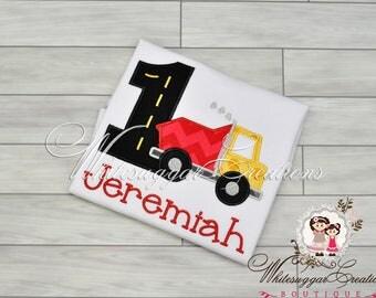 1st Birthday Outfit Boy - Red Dumptruck Birthday Shirt - Embroidered Birthday Outfit - Boys 1st Birthday Shirt - Baby Boy Birthday Shirt