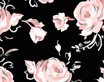 City Ballet from Benartex - Full or Half Yard Ballet Rose on Black - Pink, Cream, Gray Roses on Black