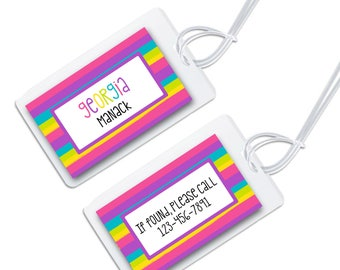 personalized bag tag for luggage, backpacks, lunch boxes and more, rainbow design for back to school