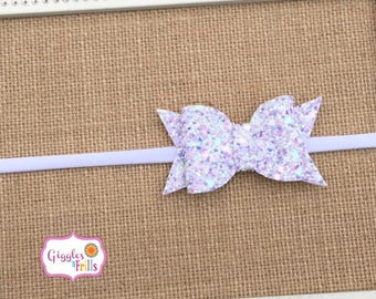 Glitter Bow Headband, Lavender Glitter Headband, Baby Bow Headband, Baby Girl Bows, Easter Headband, Lavender White and Aqua Headband