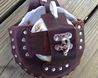 Leather Steampunk Tea Cup Holster Set