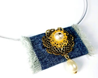 Upcycled Jeans Necklace Pendant, Repurposed Denim Jewelry, Handmade Gifts For Her
