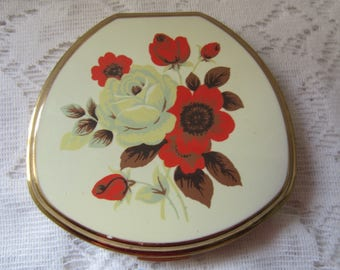 Stratton Compact White Enamel Red and White Flowers Clam Shell Design Vintage