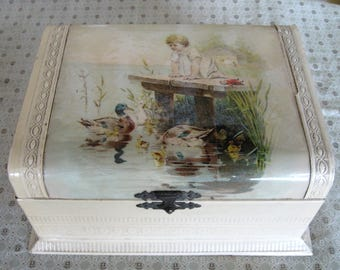 Antique Victorian Celluloid Little Girl Ducks Doll Jewelry Dresser Vanity Box Jewelry With Insert