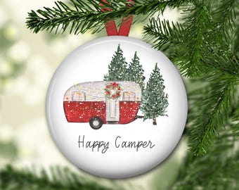 Happy Camper ornament for tree - retro camper house Christmas ornament - modern farmhouse decor - ORN-61