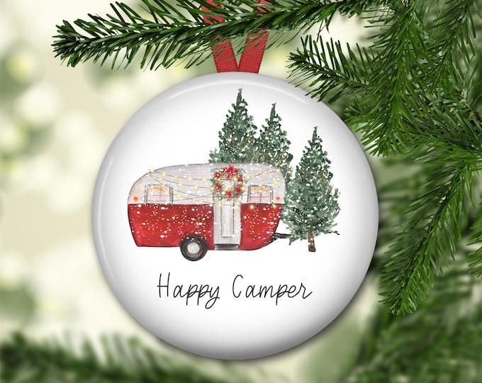 Happy Camper ornament for tree - retro camper house Christmas ornament - modern farmhouse decor - ORN-61