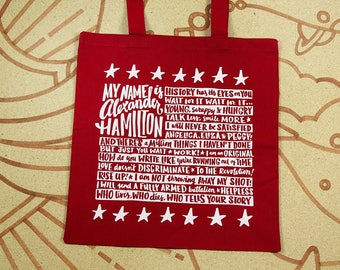 Alexander Hamilton Tote Bag // Hamilton Quote Bag // Musical Theater Tote // Red Tote Bag