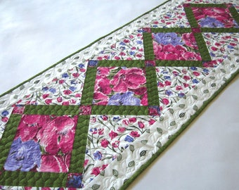 Handmade quilts and table runners for your by patchworkmountain table runner floral quilted handmade runner flowers purple pink runner handmade gifts modern runner spring easter negle Image collections