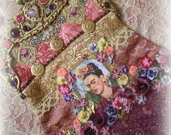"""EXQUISITE """"Reflections of Frida Kahlo II"""" Jeweled Hand Embroidered Silk Purse - Jeweled Frame -Ribbonwork Beaded Flowers - Jeweled Chain"""