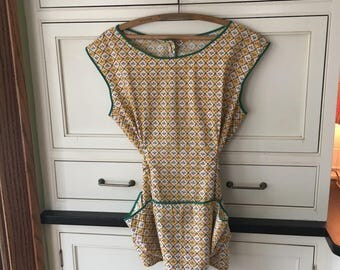 Vintage Apron Smock, mini print, cotton, pockets