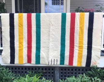 Vintage Hudson Bay Point Blanket Wool, three and a half point