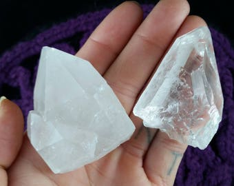 Two Clear Quartz 2 Natual Crystals Gemstones Stones Point empathic warrior etched