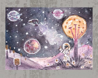 New Planet - Original ACEO, watercolor painting